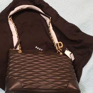 Brand new quilted leather DKNY Lara shoulder tote